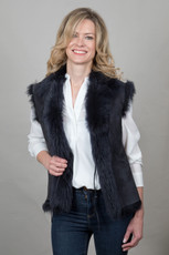Toscana Sheepskin Gilet in Navy (TOSC07)