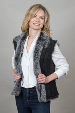 Toscana Sheepskin Gilet in Black (TOSC01)