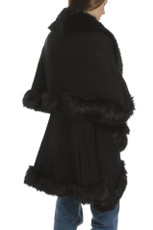Faux Fur Wrap in Black KFP23A-01