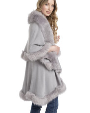 Faux Fur Wrap in Light Grey