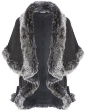 Faux Fur Wrap in Black and Silver