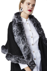 Faux Fur Wrap in Black and Silver KFP23A-01S