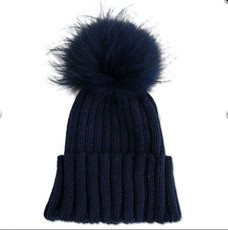 Black hat with Real Fur Bobble  AB-01