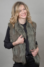 Short Khaki Rabbit and Fox Fur Gilet  FF46A-11