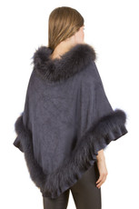 Fox Fur and Faux Suede Poncho in Navy