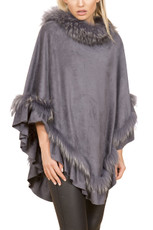 Fox Fur and Faux Suede Poncho in Grey