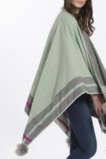 Green cashmere pompom wrap