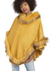 Fox Fur and Faux Suede Poncho in Cream SUFP1649A-0Y