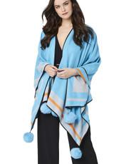 Cashmere Real Fur Pom Pom Wrap in Blue CSRF6925A-07