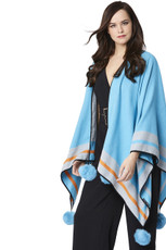 Cashmere Real Fur Pom Pom Wrap in Blue CSRF6925A-07