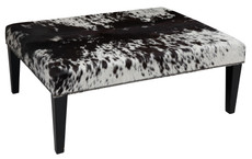 Black and White Cowhide Footstool