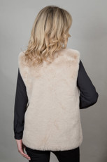 Mid Faux Fur Gilet in Stone