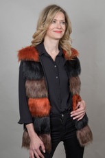 Stunning Faux Fur Gilet in Multicoloured QED0740