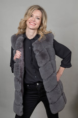 Luxury Faux Fur Gilet in Grey