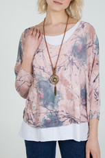 Double Layer Jersey Top with Necklace in Pink (NT-D06)