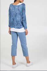 Double Layer Summer Top with Necklace in Blue