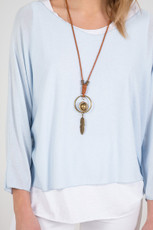 Double Layer Jersey Top with Necklace in Sky Blue