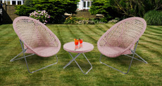 Foldable Rattan Garden Furniture Set in Copper