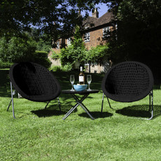 Foldable Black Rattan Garden Furniture Set