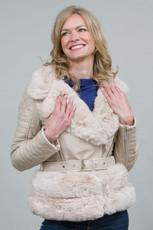 Luxury Faux Fur Trim Biker Jacket in Cream NL7101-02