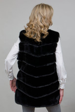 Long Lux Faux Fur Gilet in Black LM6997-01