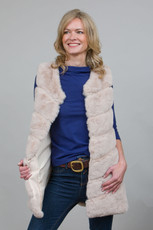 Long Lux Faux Fur Gilet in Stone LM6997-12