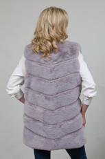 Long Lux Faux Fur Gilet in Grey LM6997-03