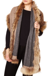 Reversible Cashmere & Wool Mix Wrap with Raccoon Fur Trim in Dark Grey