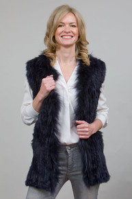 Navy Rabbit and Fox Fur Gilet  RF4079A-07