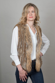 Short Mocha Rabbit and Fox Fur Gilet