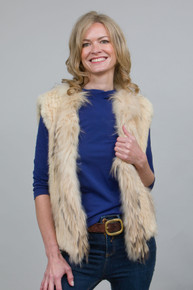 Short Cream Rabbit and Fox Fur Gilet FF46A-02