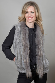 Short Mid Grey Rabbit and Fox Fur Gilet