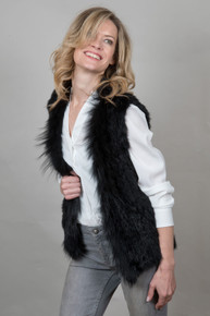Short Black Rabbit and Fox Fur Gilet