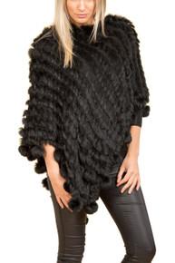 Black Coney Fur Poncho (with pom poms)