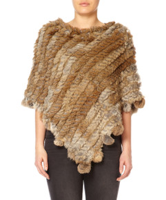 Mocha Rabbit Fur Poncho (with pom poms)
