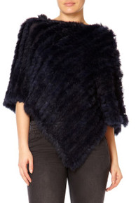 Navy Rabbit Fur Poncho RF1018A-07