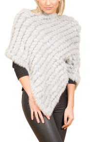 Light Grey Rabbit Fur Poncho