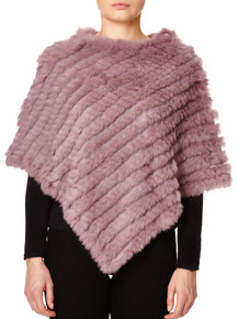 Dark Pink Rabbit Fur Poncho