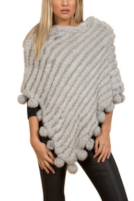 Silver Grey Rabbit Fur Poncho (with pom poms)