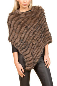 Chocolate Brown Rabbit Fur Poncho