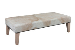 Brown & White Colour Cowhide Footstool / Ottoman 4ft x 2ft FST883