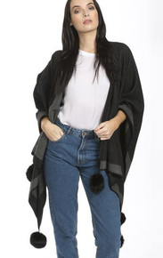 Cashmere Pom Pom Wrap in Black