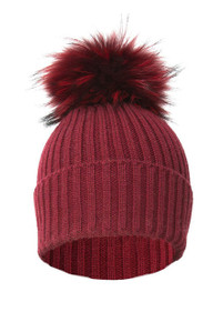 Red Wool and Silk Fox Fur Bobble Hat  FFDT19A-08