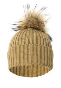 Mocha Wool and Silk Fox Fur Knitted Bobble Hat