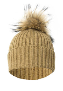 Mocha Wool and Silk Fox Fur Knitted Bobble Hat  FFDT19A-09