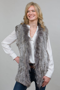 Grey Rabbit and Fox Fur Gilet  RF4079A-03