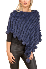 Navy Rabbit Fur Poncho (with pom poms)