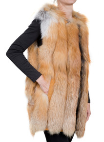 Natural Fox Strip Fox Fur Gilet