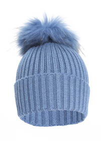Blue Wool and Silk Knitted  Fox Fur Bobble Hat  FFDT19A-07S