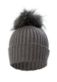 Dark Grey Wool and Silk Fox Fur Bobble Hat  FFDT19A-D03